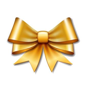 Arco de presente vector dourado sobre fundo branco.
