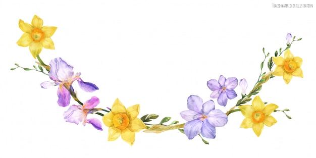 Arco decorativo em aquarela com flores da primavera