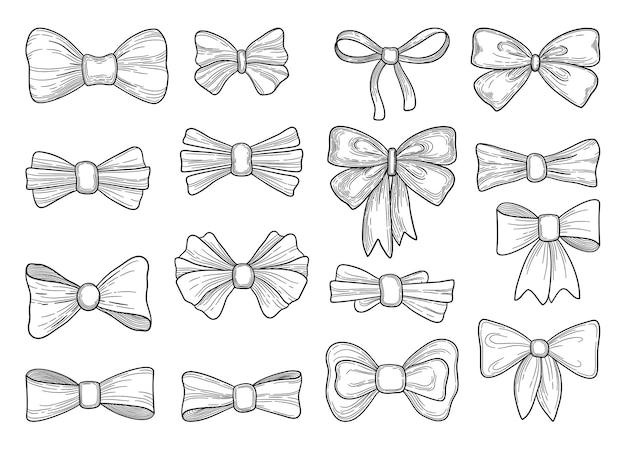 Arco desenhado de mão. acessórios de arcos de gravata de moda esboço doodles fitas amarradas.