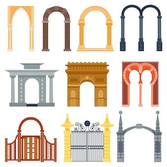 Arco design arquitetura construção quadro clássico, coluna estrutura portão porta fachada e gateway edifício construção antiga