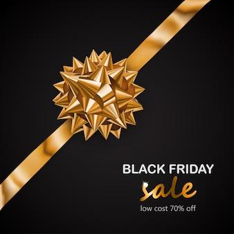 Arco dourado com fita na diagonal com sombra e inscrição venda de sexta-feira negra em fundo preto