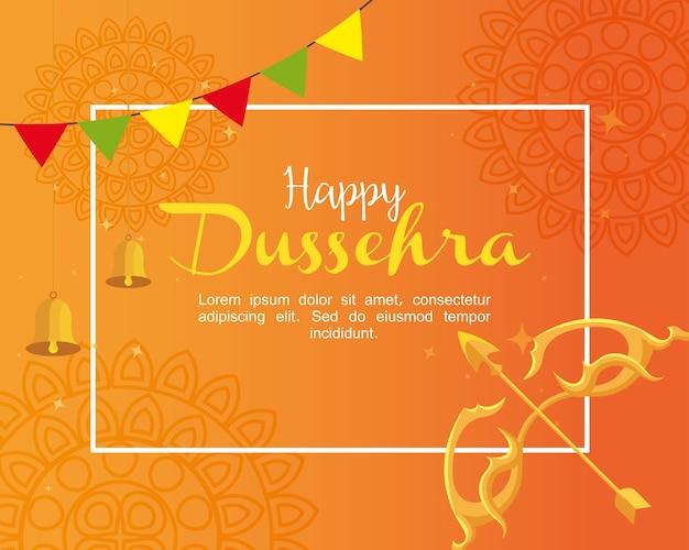 Arco dourado com flecha e sinos em laranja com desenho de fundo de mandalas, feliz festival de dussehra e tema indiano