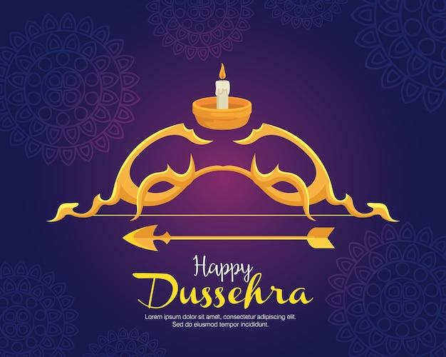 Arco dourado com flecha e vela azul com desenho de fundo de mandalas, feliz festival de dussehra e tema indiano