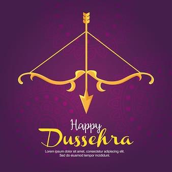 Arco dourado com flecha em roxo com desenho de fundo de mandalas, feliz festival de dussehra e tema indiano
