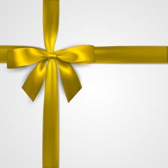 Arco dourado realista com fitas amarelas isoladas em branco