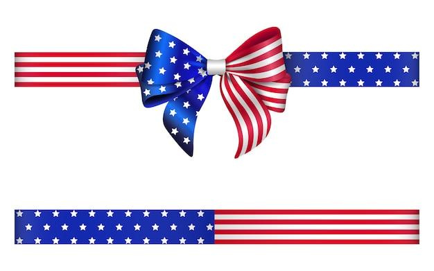 Arco e fita com as cores da bandeira dos estados unidos. fita e arco americano