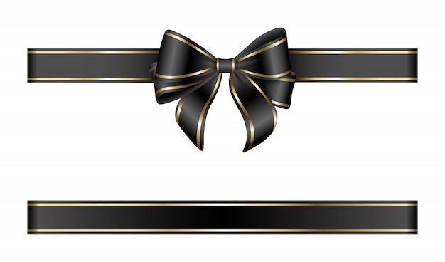 Arco e fita de ouro e preto
