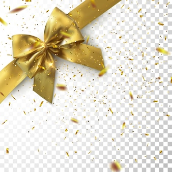 Arco e fita dourados com confetes cintilantes e brilhos isolados em um fundo transparente quadriculado