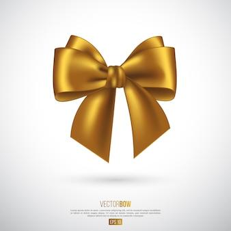 Arco e fita dourados realistas. elemento para presentes de decoração, saudações, feriados. ilustração vetorial.