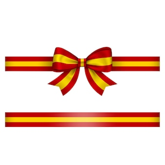 Arco e fita espanhóis vermelhos e amarelos