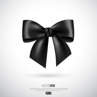 Arco e fita pretos realistas. elemento para presentes de decoração, saudações, feriados. ilustração vetorial.
