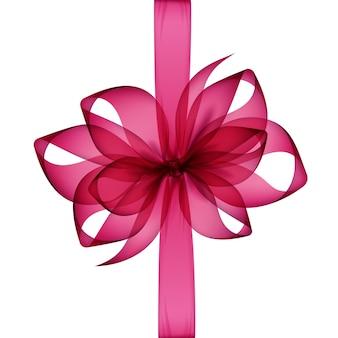 Arco e fita transparente rosa escuro magenta vista superior close-up isolado no fundo branco