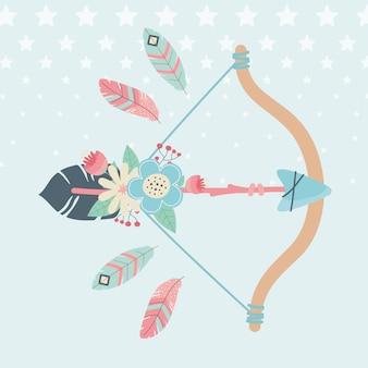 Arco e flecha com penas estilo boho de decoração