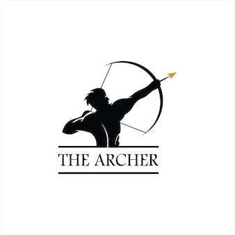 Arco e flecha logotipo simples vintage arqueiro homem