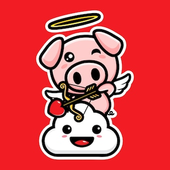 Arco e flecha porcos cupidos fofos com amor