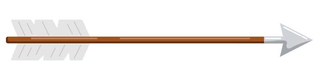 Arco flecha de madeira com plumagem branca e ilustração em vetor plana ponta de aço isolada no fundo branco.