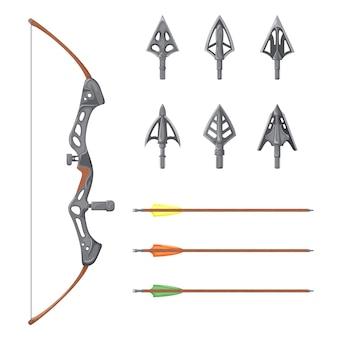 Arco, flechas e pontas de flecha, elementos do vetor são isolados em um fundo branco.