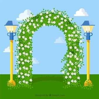 Arco floral com flores de jasmim