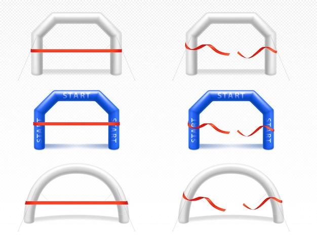 Arco inflável com fita vermelha para eventos esportivos