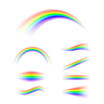Arco-íris abstrato definido em diferentes formas