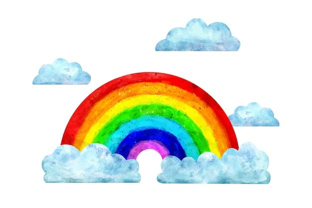 Arco-íris aquarela com nuvens