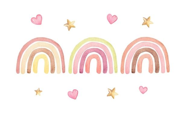Arco-íris aquarela de cor pastel incrustado com corações e estrelas isoladas
