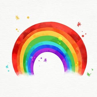 Arco-íris aquarela vibrante ilustrado