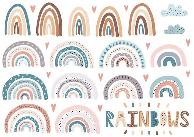 Arco-íris bonitinho, nuvens, coleção de corações. conjunto de elementos isolados