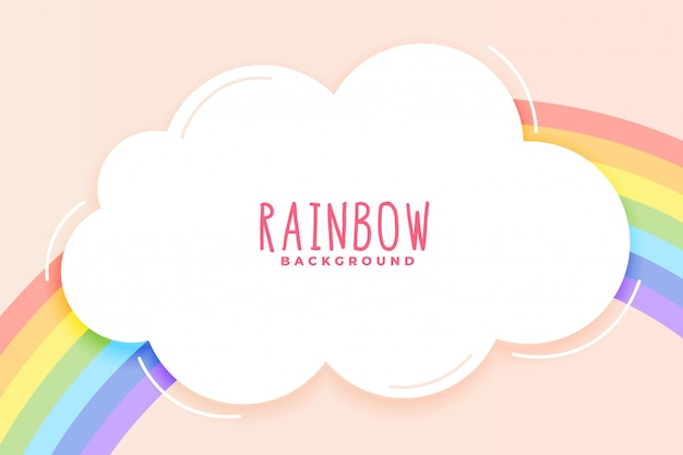 Arco-íris bonito e fundo de nuvem em tons pastel