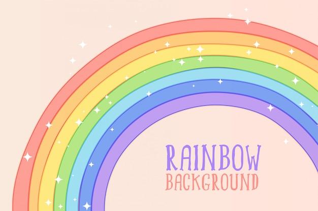 Arco-íris bonito mão desenhada em fundo de cores pastel