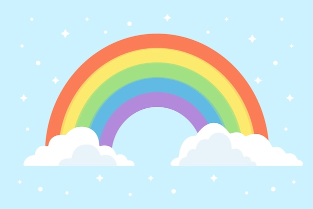 Arco-íris brilhante abstrato design plano