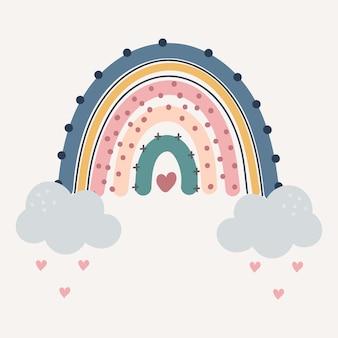 Arco-íris colorido bonito com gotas e coração isolado.