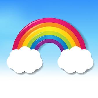Arco-íris colorido com nuvens céu azul