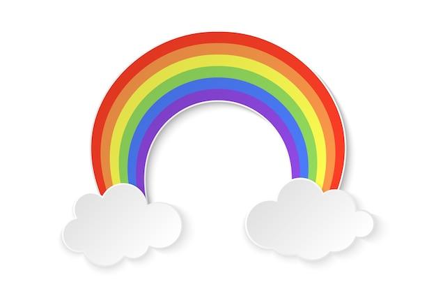 Arco-íris colorido com nuvens no fundo branco, ilustração