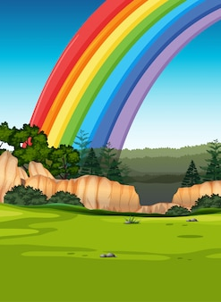 Arco-íris colorido com prado e céu dos desenhos animados estilo de fundo