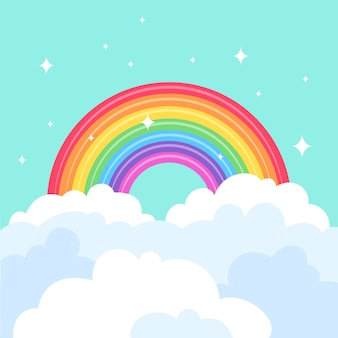 Arco-íris colorido design plano