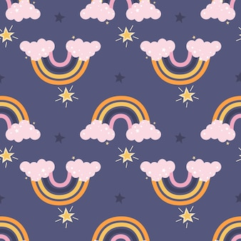 Arco-íris colorido fofo com nuvens cor de rosa e estrelas em um fundo roxo. padrão sem emenda de vetor
