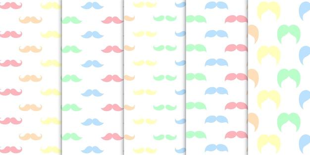 Arco-íris colorido suave colorido várias formas de bigodes sem costura padrão ilustração
