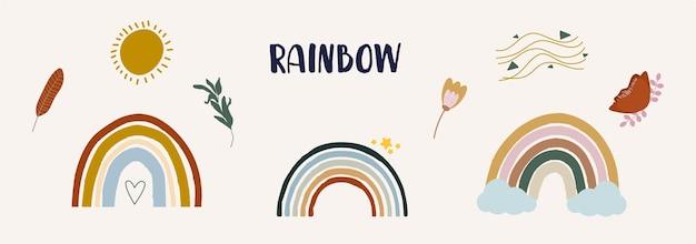 Arco-íris coloridos fofos em ilustração plana de estilo boho