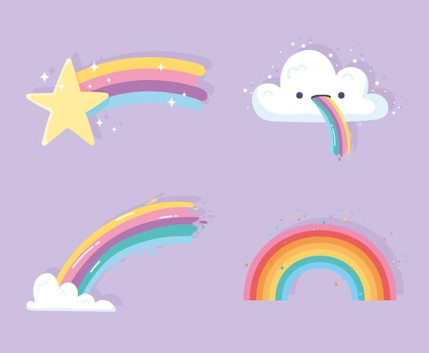 Arco-íris com desenho de nuvens ícones de decoração estrela cadente