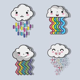 Arco-íris com design de nuvens de ofertas kawaii