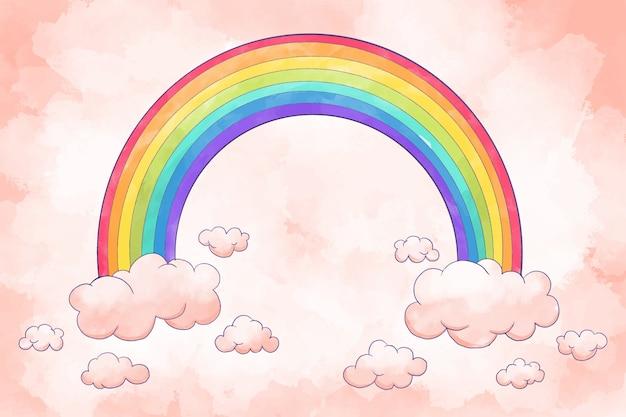 Arco-íris com estilo aquarela de nuvens