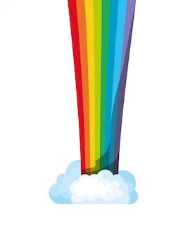 Arco-íris com ícone isolado de nuvens