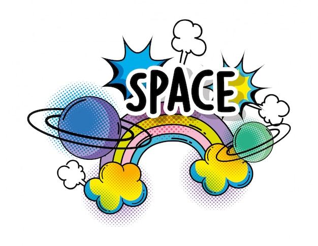 Arco-íris com nuvens e plantas para espaço patch