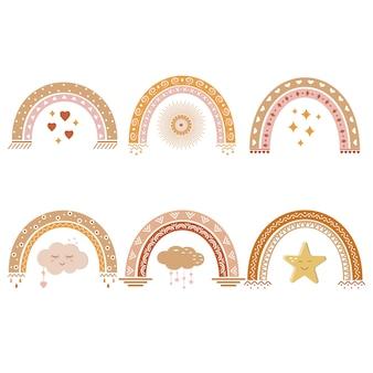 Arco-íris com padrão boho, ilustração vetorial