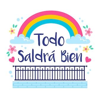 Arco-íris com tudo vai ficar bem lettering em espanhol