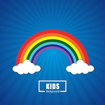 Arco-íris da cor com nuvens