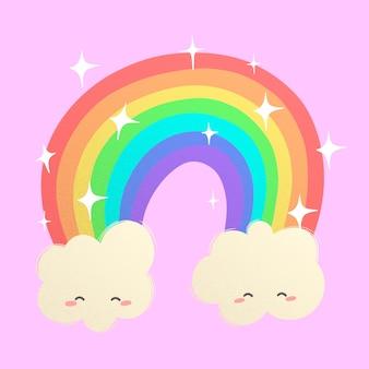 Arco-íris de conto de fadas e nuvens felizes