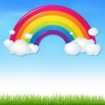 Arco-íris de cores com nuvens e grama, com malha gradiente