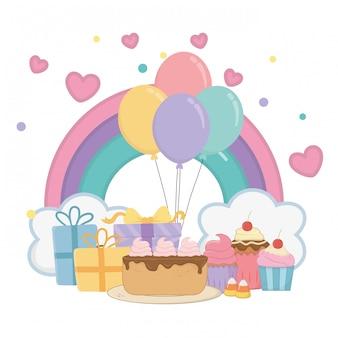 Arco-íris de kawaii e feliz aniversario